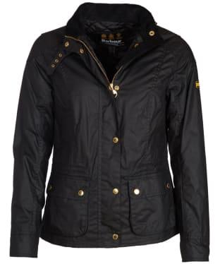 Women's Barbour International Fascia Waxed Jacket - Black