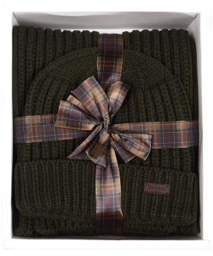 Men's Barbour Chunky Rib Knitted Giftset - Green