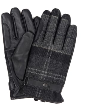 Men's Barbour Newbrough Tartan Gloves - Black / Grey