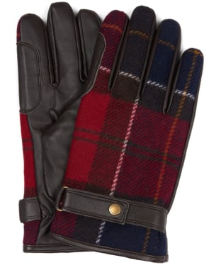 Men's Barbour Newbrough Tartan Gloves - Red Tartan