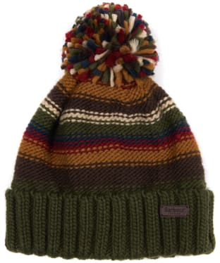 Men's Barbour Harrow Stripe Beanie - Olive Mix