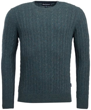 Men's Barbour Essential Cable Crew Neck Sweater - Seaweed