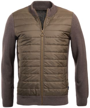 Men's Barbour Carn Baffle Zip Thru Sweater Jacket - Clay