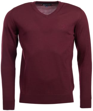 Men's Barbour Merino V Neck Sweater - Merlot
