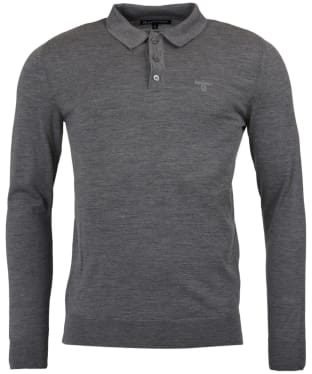 Men's Barbour Merino Long Sleeve Polo Top - Mid Grey Marl