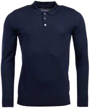 Men's Barbour Merino Long Sleeve Polo Top - Navy