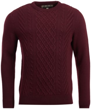 Men's Barbour Haywood Cable Knit Crew Neck Sweater - Dark Merlot