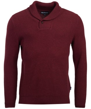 Men's Barbour Honeycomb Shawl Neck Sweater - Merlot