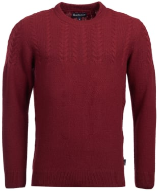 Men's Barbour Crastill Cable Knit Crew Neck Sweater - Merlot