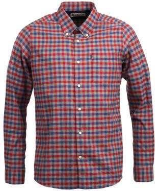 Men's Barbour Moss Check Shirt Tailored Fit - Rich Red Check