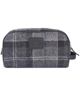 Barbour Shadow Tartan Wash Bag - Black / Grey Tartan