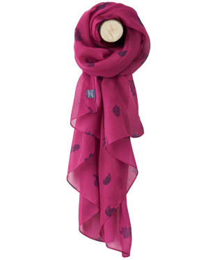 Women's Joules Wensley Woven Scarf - Ruby Pink Etched Animals