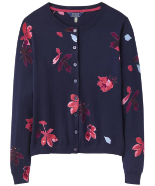 Women's Joules Skye Print Cardigan - French Navy Chestnut Leaves