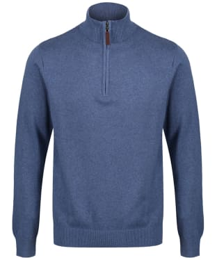 Men's Schoffel Cotton ¼ Zip Jumper - Stone Blue