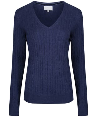 Women's Schoffel Cotton Cashmere Cable Knit V Neck Sweater - Indigo