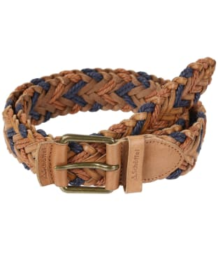 Schoffel Woven Leather Belt - Tan / Navy