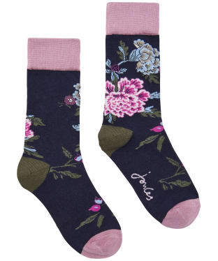 Women's Joules Brilliant Bamboo Socks - French Navy Chinoise Blossom