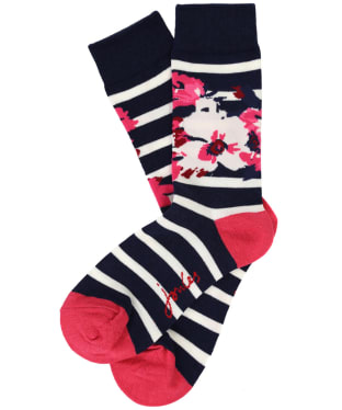 Women's Joules Brilliant Bamboo Socks - Navy Stripe Bircham Bloom
