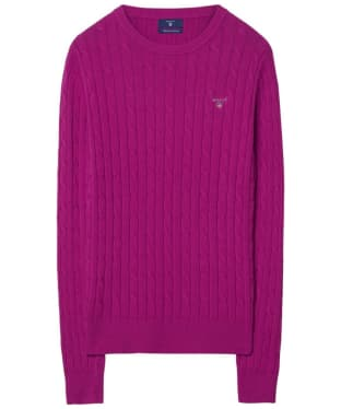 Women's GANT Stretch Cotton Cable Sweater - Raspberry Red