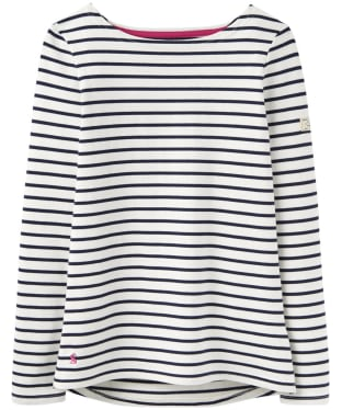Women's Joules Harbour Jersey Top - Cream Navy Stripe