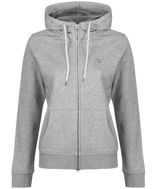 Women's GANT Full Zip Hooded Sweatshirt - Grey Melange
