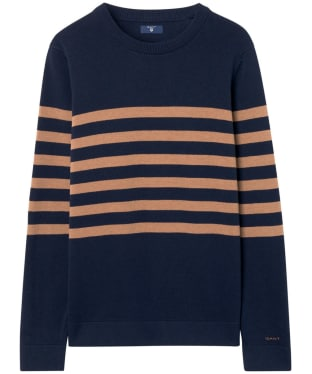 Women's GANT Striped Cotton Crew Sweater - Marine