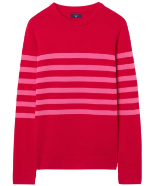 Women's GANT Striped Cotton Crew Sweater - Atomic Orange
