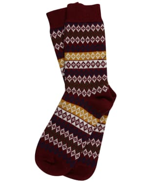 Men's Barbour Duxbury Fairisle Socks - Red