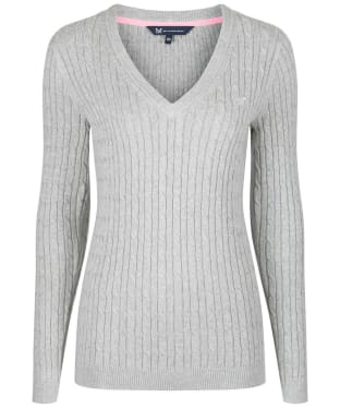 Women's Crew Clothing Heritage Cable Jumper - Silver Grey Marl