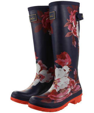 Women's Joules Welly Print Wellingtons - French Navy Bircham Bloom