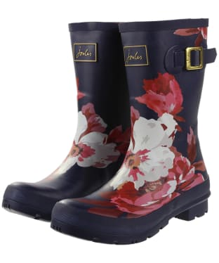 Women's Joules Molly Welly Mid Height Wellingtons - French Navy Bircham Bloom