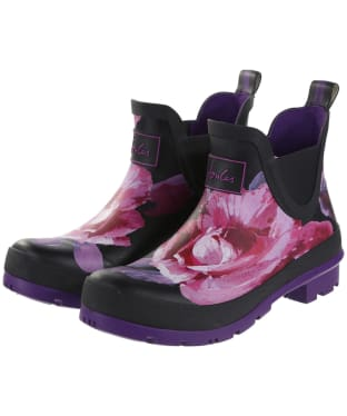 Women's Joules Wellibob Short Wellingtons - Black Winter Floral