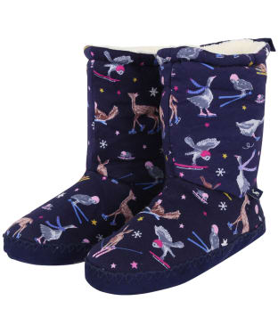 Women's Joules Homestead Fleece Lined Slipper Socks - French Navy Woodland Ski