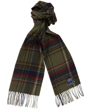 Men's Joules Tytherton Wool Checked Scarf - Green Check