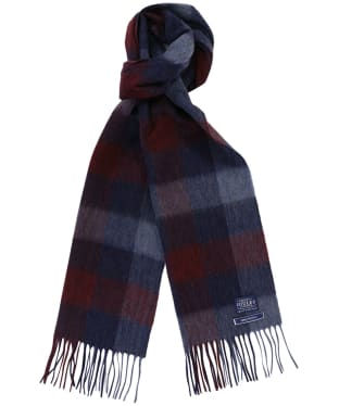 Men's Joules Tytherton Wool Checked Scarf - Cabernet Gingham