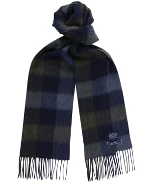 Men's Joules Tytherton Wool Checked Scarf - Blue Mini Gingham