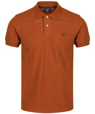 Men's GANT Contrast Collar Pique - Rust Melange