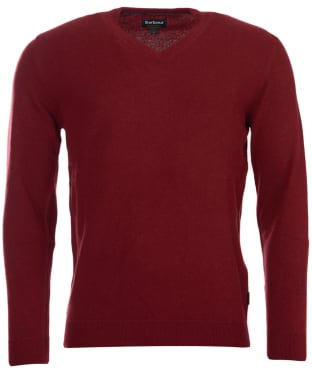 Men's Barbour Harrow V Neck Sweater - Rich Red