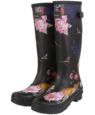 Women's Joules Welly Print Wellingtons - Black Woodland Floral