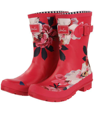 Women's Joules Molly Welly Mid Height Wellingtons - Raspberry Bircham Bloom
