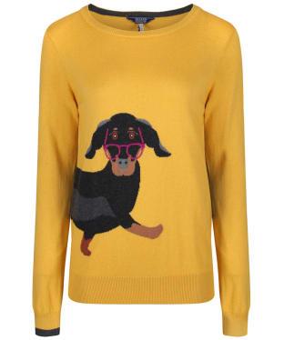 Women's Joules Miranda Intarsia Jumper - Ochre Sausage Dog