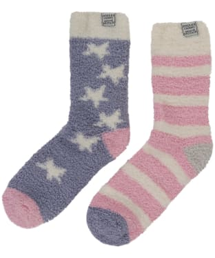 Women's Joules Fabulously Fluffy Short Socks - Spot Stripe