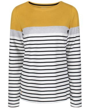 Women's Joules Harbour Block Jersey Top - Cream Ochre Block Stripe