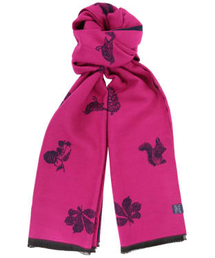 Women's Joules Jacquelyn Scarf - Ruby Pink Etched Animals