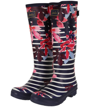 Women's Joules Welly Print Wellingtons - French Navy Chestnut Leaves