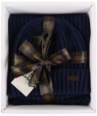 Men's Barbour Chunky Rib Knitted Giftset - Navy