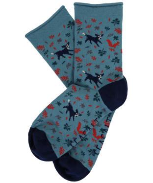 Women's Seasalt Arty Socks - Chasing Squirrels Sea Holly