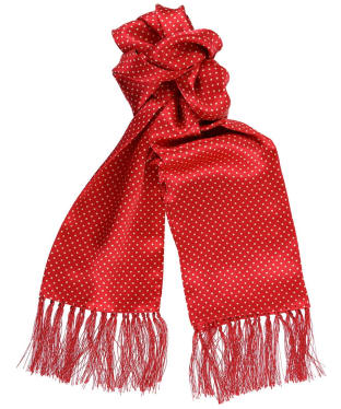 Tootal Vintage White Pin Dot Silk Scarf - Red