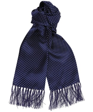 Tootal Vintage White Pin Dot Silk Scarf - French Blue