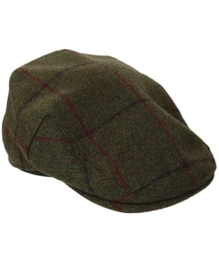 Men's Barbour Wool Crieff Flat Cap - Green / Blue / Red Check